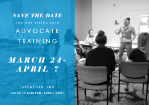 Spring 2018 Volunteer Advocate Training @ TBD